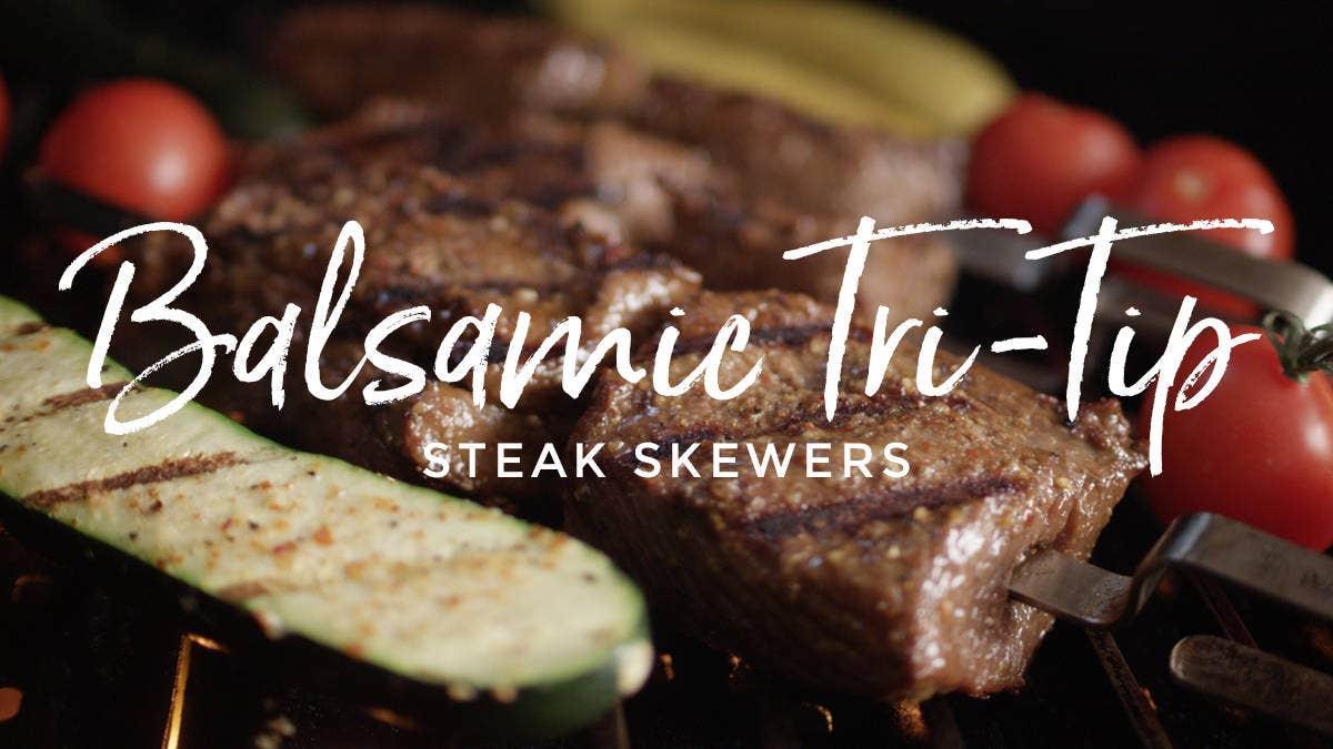 Recipe for Balsamic Tri-tip Steak Skewers & Grilled Veggies