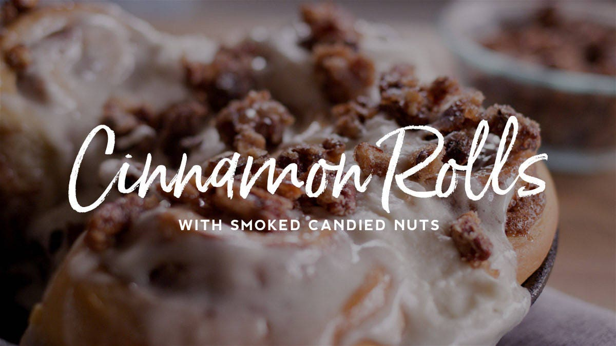 Cinnamon Roll Recipe with Smoked Candied Nuts