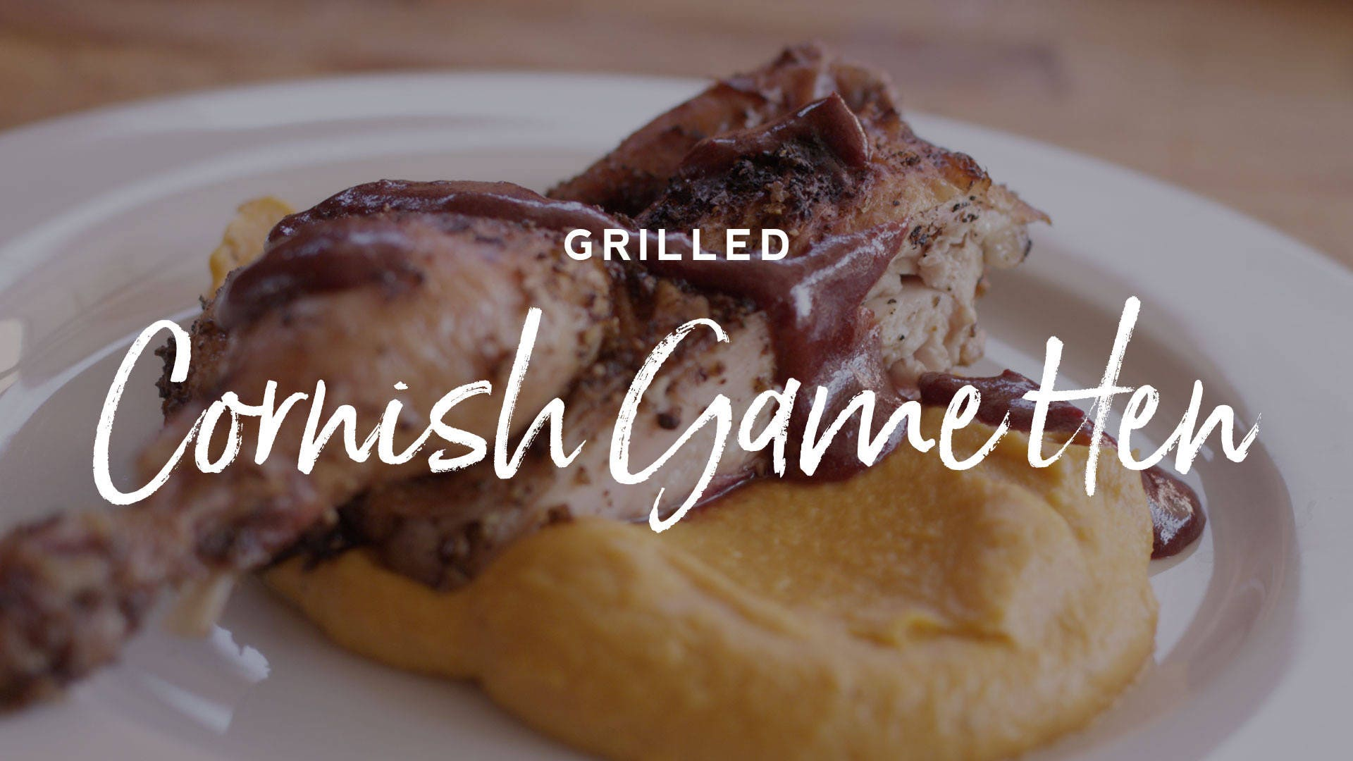 Grilled Cornish Game Hen with Cranberry Gastrique Recipe