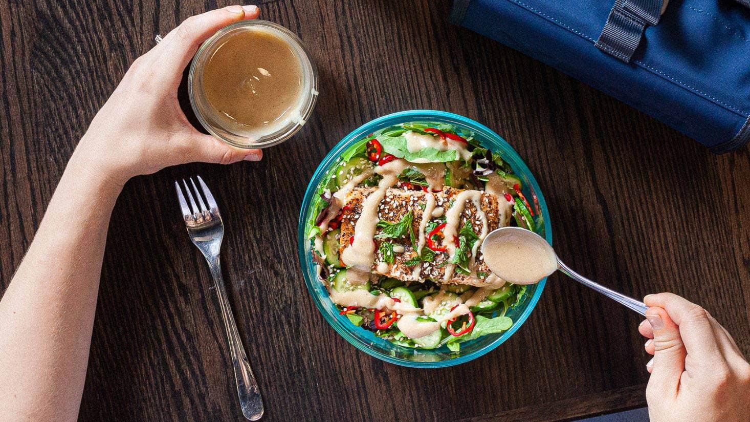 Grilled Salmon Salad with Magic Tahini Dressing Recipe
