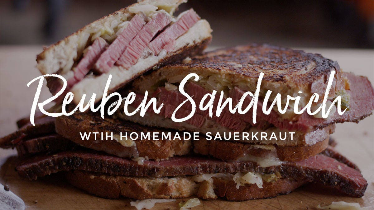 Recipe For Pastrami Reuben with Homemade Sauerkraut