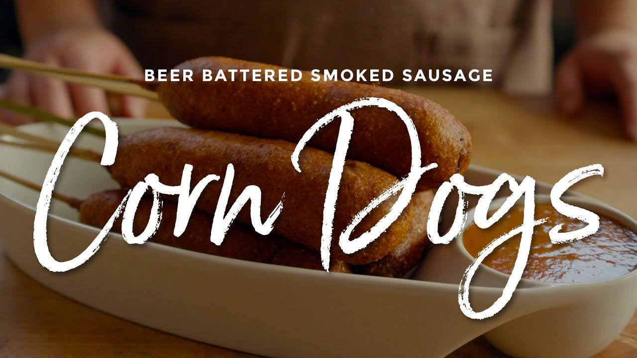 Recipe for Beer Battered Smoked Sausage Corn Dogs