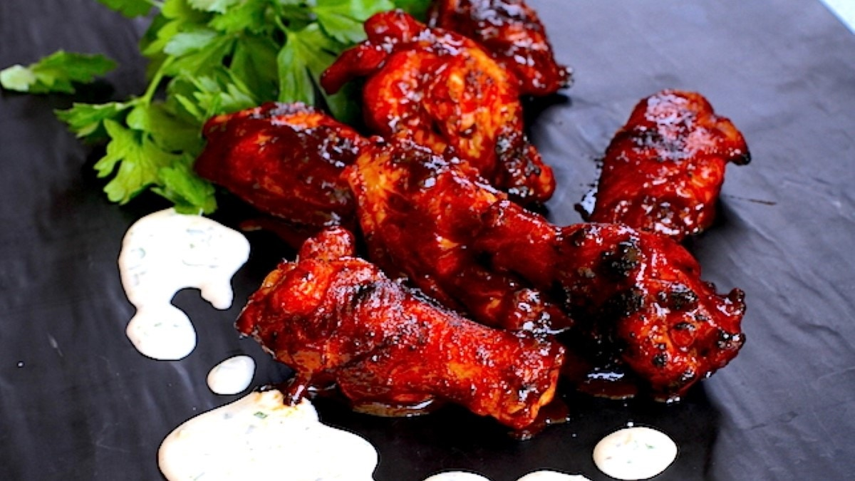 BBQ Chicken Wings with Garlic Parmesan Dipping Sauce Recipe