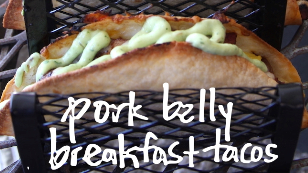 Grilled Breakfast Tacos with Smoked Pork Belly Recipe