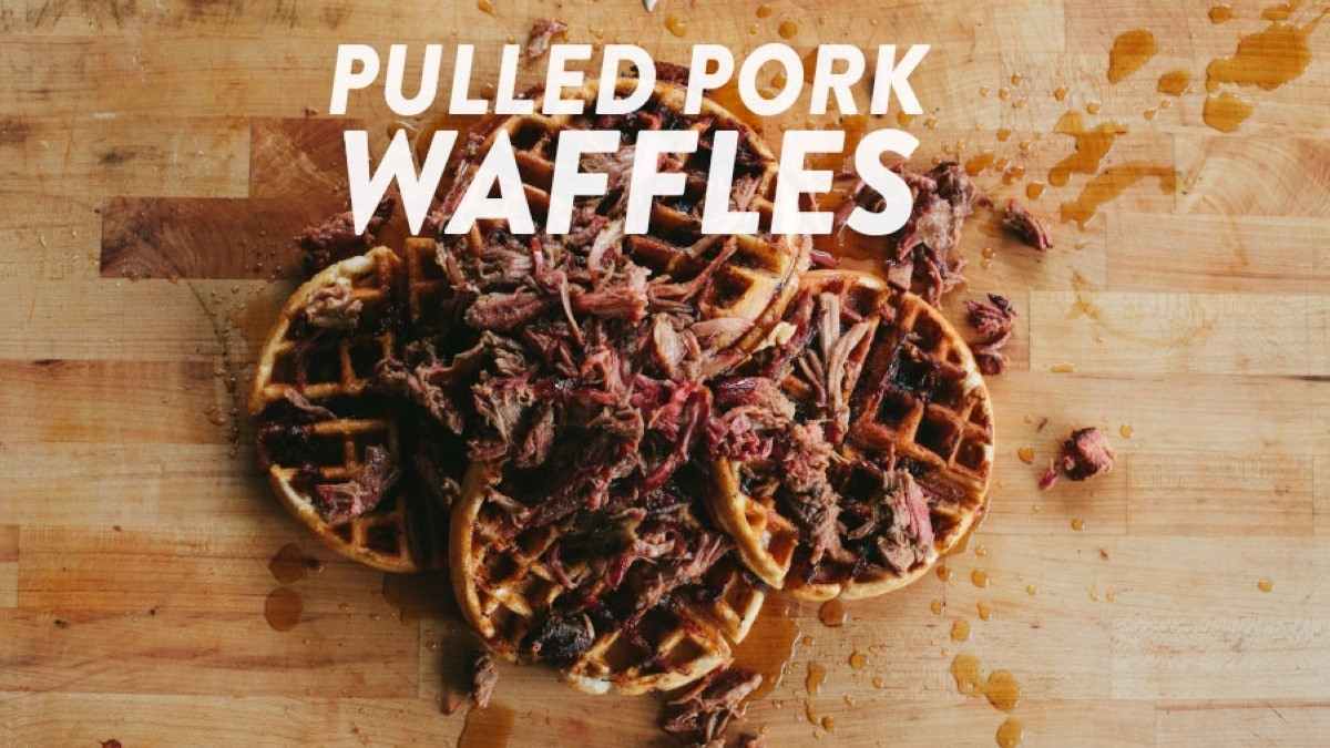 Pulled Pork Waffles with Bourbon Maple Syrup Recipe