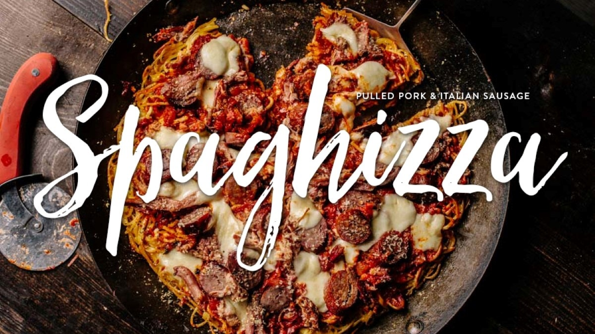 Spaghetti Pizza with Pulled Pork and Italian Sausage Recipe