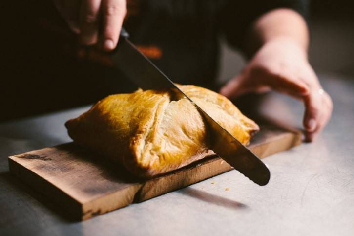 Slicing into pastry