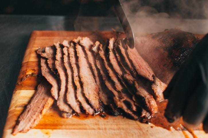 Slicing the steak