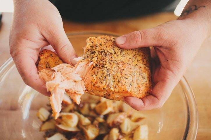 Perfectly cooked salmon (135ºF-140ºF) will be juicy, tender and flake apart perfectly, every single time!