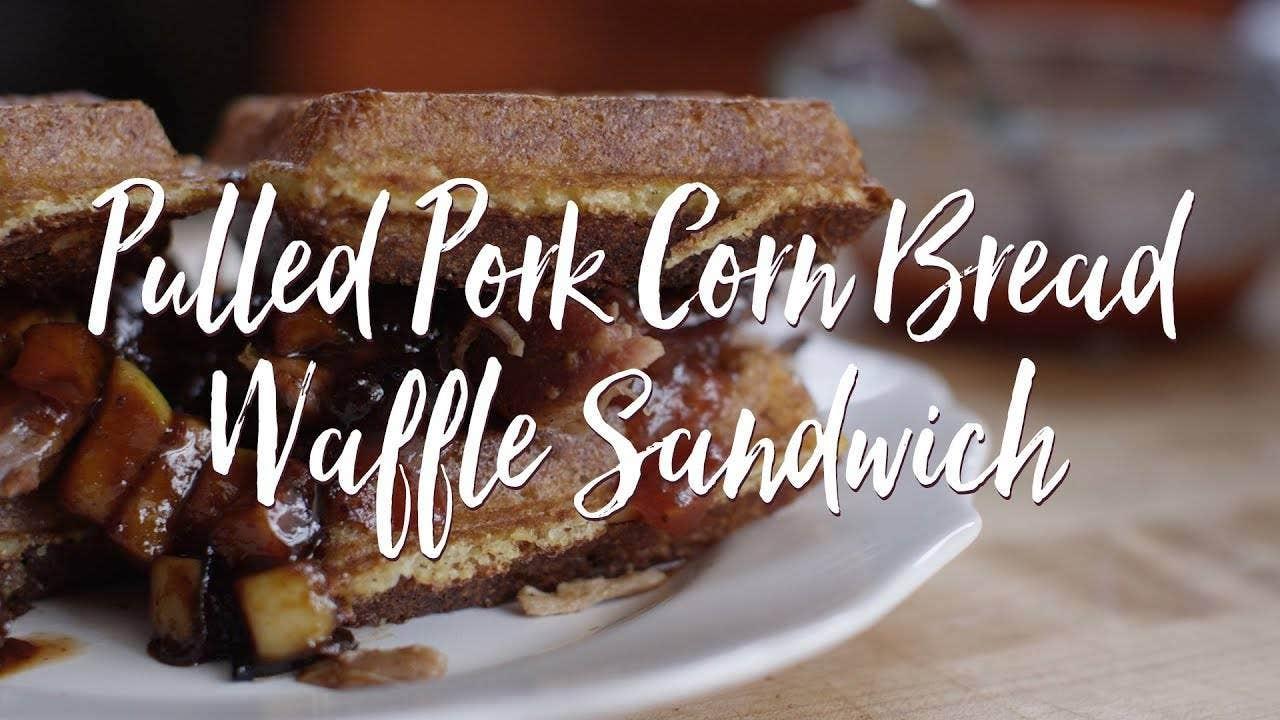 Pulled Pork Cornbread Waffle Sandwich with Caramelized Onion & Apple Chutney