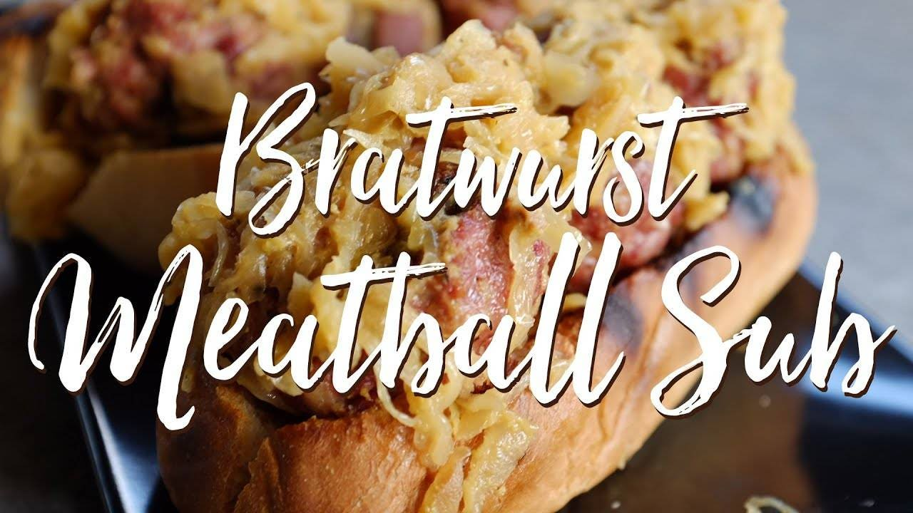 Recipe for a Bratwurst Meatball Sub with Beer Braised Sauerkraut