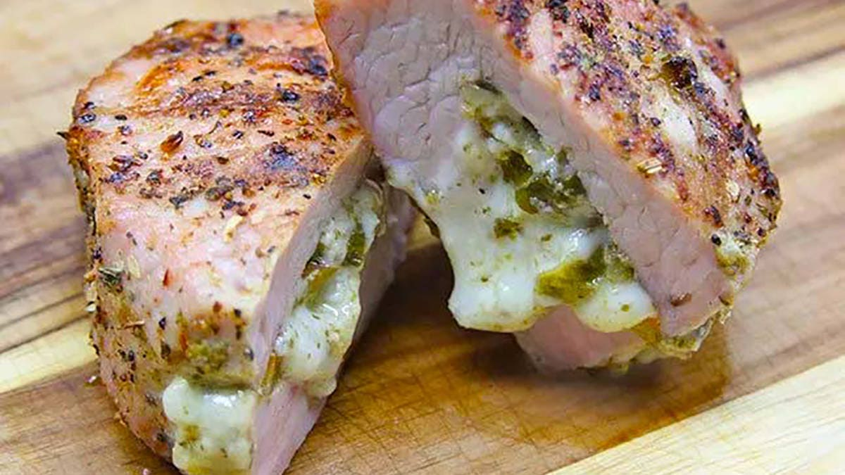 Recipe for Stuffed Pork Chop on Himalayan Salt Block