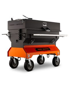 "Yoder Smokers 48"" Adjustable Charcoal Grill on Competition Cart, Orange"