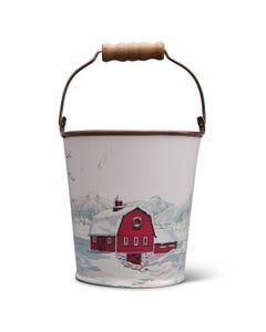 Farmhouse Scene Bucket with Wood Handle