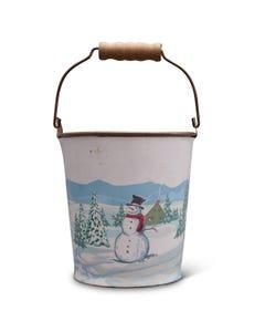 Snowman Winter Scene Metal Bucket with Wood Handle