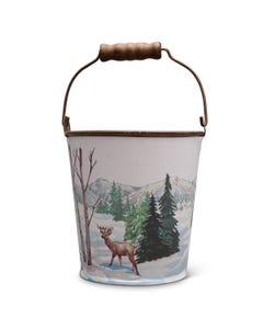 Deer Scene Metal Bucket with Wood Handle