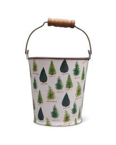 Christmas Trees Metal Bucket with Wood Handle