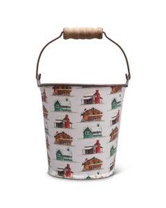 Farmhouses Metal Bucket with Wood Handle