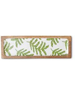 Mango Wood Serving Tray with Fern Print