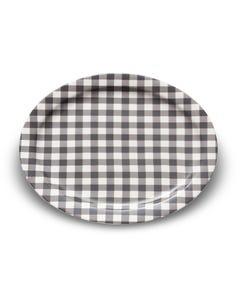 Black Gingham Stoneware Platter