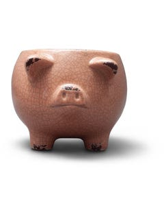 Pink Ceramic Pig Planter with Crackle Finish