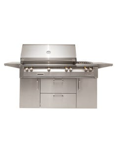 """Alfresco ALXE 56"""" Gas Grill with Side Burner on Cart"""