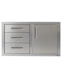 """Alfresco 32"""" Single Door, Triple Drawer Combo"""