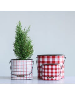 Red Gingham & Grid Wood Handle Metal Buckets