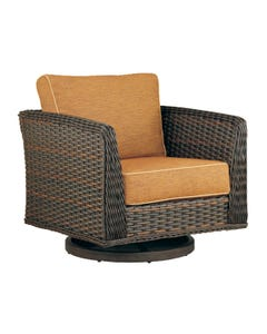 Patio Renaissance Catalina Swivel Glider with Roasted Pecan Finish and Mainstreet Latte Fabric