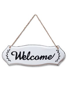 "Midwest CBK Black and White ""Welcome"" Enamelware Sign"