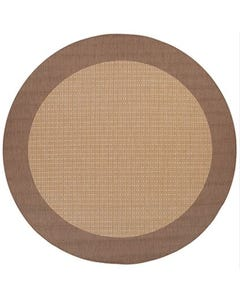Couristan Outdoor Rug, 8'6 Round Recife Checkered Field in Natural & Cocoa