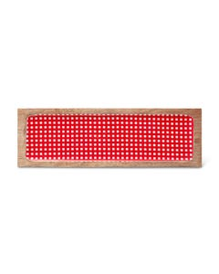 Large Red Gingham Wood Tray