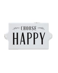 Choose Happy Black and White Metal Wall Decor