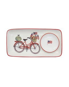 """Bicycle and American Flags Rectangle Stoneware Plate with 4"""" Round Dish"""