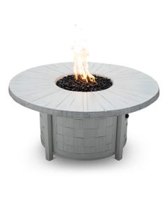 "Castelle Classical 49"" Round Coffee Table Fire Pit Reclaimed Timber Top and Restoration Ivory Finish"