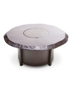 "Castelle Altra 49"" Coffee Table Fire Pit Live Edge Top and Weathered Wood Finish"