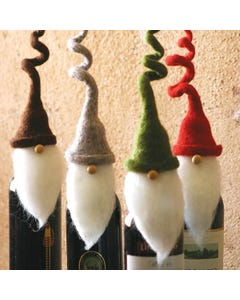 Kalalou Felt Santa Bottle Toppers - Set of 4