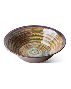"""Merritt 11.5"""" Glazed Swirl Brown Serving Bowl"""