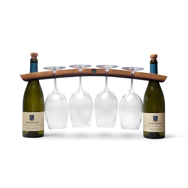 Burgundy Oak Wine Bridge Display