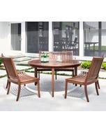 """Jensen Leisure 60"""" Round Dining Table with Curved Benches"""