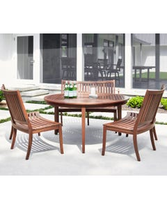 "Jensen Leisure 60"" Round Dining Table with Curved Benches"
