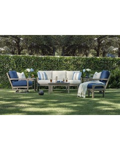 Klaussner Delray Lounge Set with Coleman Dove Cushions and Dune Finish