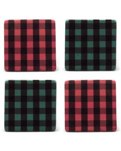 Red and Green Buffalo Check Plaid Coasters, Set of 4
