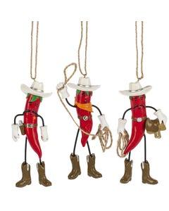 Ganz Cowboy Chili Pepper Ornaments
