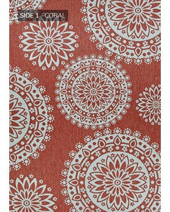 Couristan Outdoor Rug, Outdurable Flower Festival in Coral & Dune 5x7