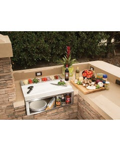 "Alfresco 30"" Pizza Prep and Garnish Rail with Food Pans"