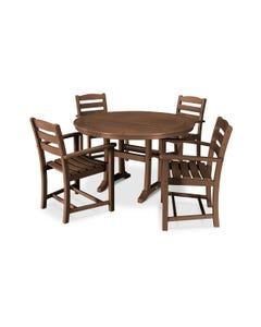 POLYWOOD 5-Piece La Casa Arm Chair Dining Set in Teak