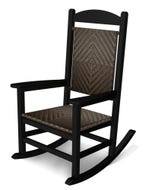 POLYWOOD Presidential Woven Rocking Chair with Black Frame and Cahaba Loom