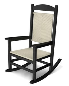POLYWOOD Presidential Woven Rocking Chair with Black Frame and White Loom
