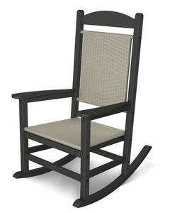 POLYWOOD Presidential Woven Rocking Chair with Slate Grey Frame and White Loom